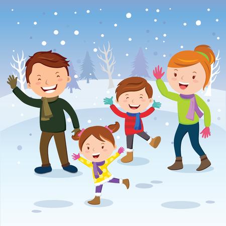 겨울 재미입니다. 눈 속에서 행복 한 가족입니다. 겨울 방학. 일러스트