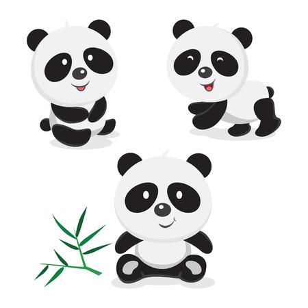 Panda bear. Vector illustration of cute baby pandas collection.