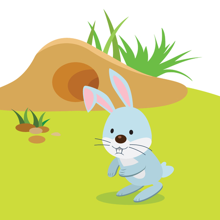Rabbit and barrow. Vector illustration of a rabbit or bunny having their outdoor activities. Vectores