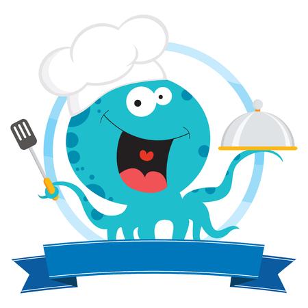 Cheerful octopus chef.