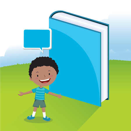 Boy love book. Vector illustration of a little boy with book.
