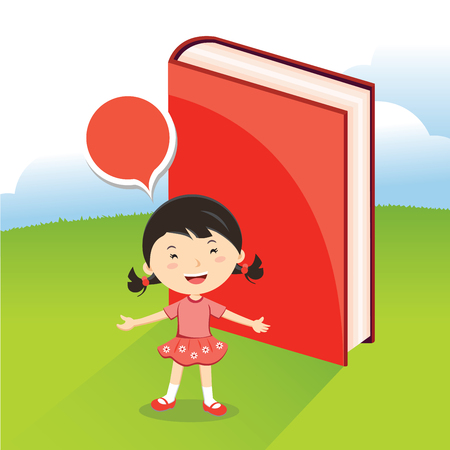 Little girl with book vector illustration. Illustration