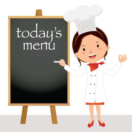 Beautiful chef woman with menu board.  Female chef writing on the wooden board. Vectores