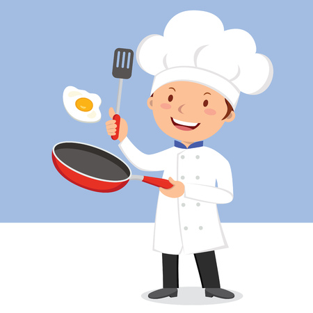 Chef frying egg. Chef man flipping egg in a flying pan. Illustration