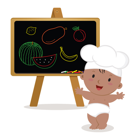 Cute baby chef. Baby boy with board. Little baby chef showing fruits drawings.