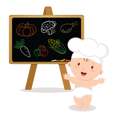 DescriptionTitleCaption: Little baby chef. Baby boy with board. Cute baby chef showing vegetables drawings.