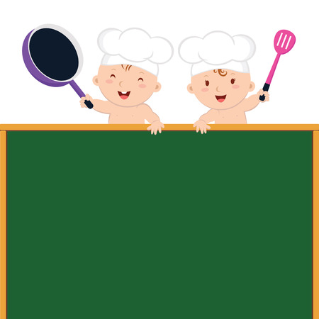 Little baby chefs with board. Cute baby chefs holding frying pans and spatula and frying pan.