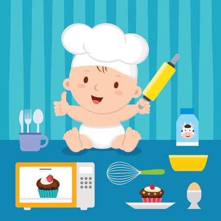 Cute baker baby boy. Cheerful baby with baking utensils.