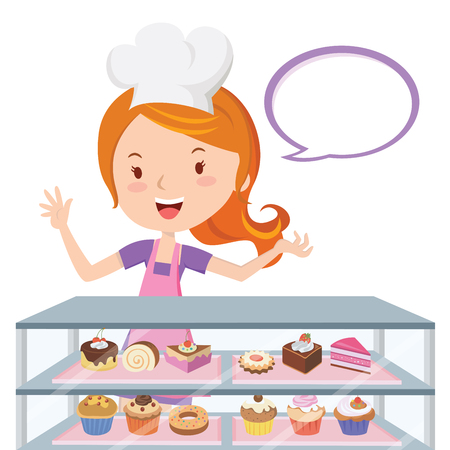 Pastry chef. Vector illustration of a pretty girl in the confectionery shop. Illustration