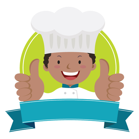 Professional chef thumbs up vector illustration of cheerful young chef thumbs up.