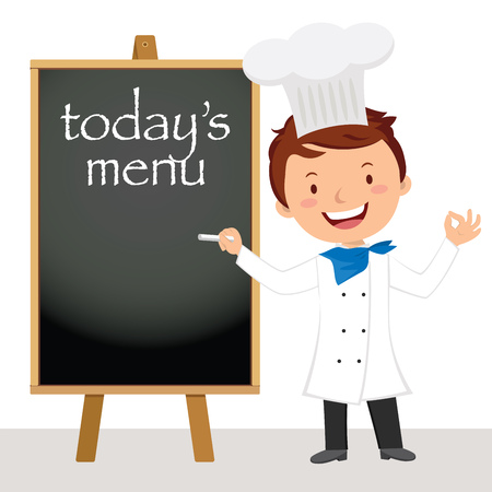 Young professional chef man. Male chef writing on the wooden board.