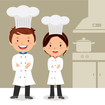 Young professional chefs. Culinary chefs. Chefs with arms crossed.