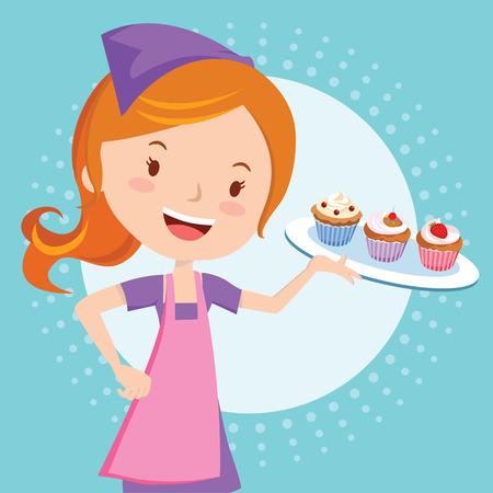 Bakery girl holding cupcakes Vector illustration. Ilustracja