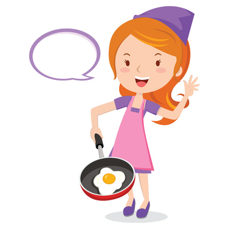 Female chef frying egg. Young girl holding a frying pan with fried egg.