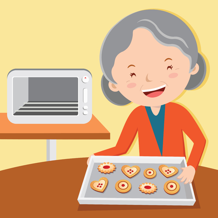 Grandmother baking tarts. Cheerful old lady baking cookies. Illustration