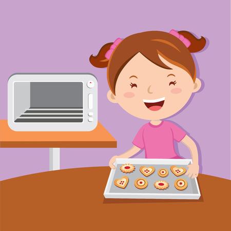 Little girl baking tarts. Cheerful girl love to bake cookies.