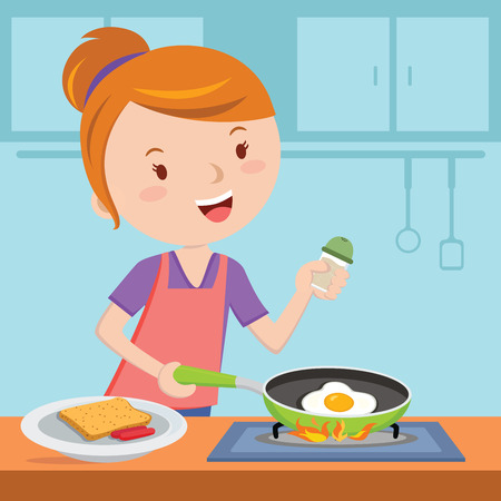 Mother making breakfast. Young woman holding frying pan with a fried egg on a stove. Illustration