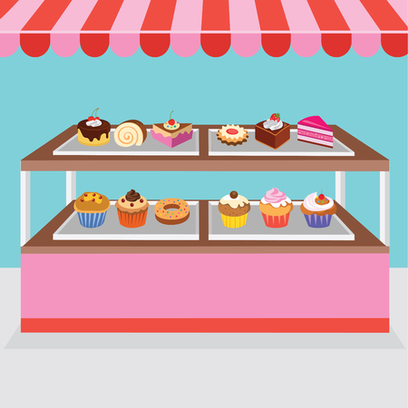 Pastry stall Vector illustration.