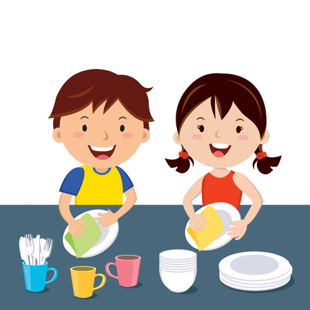Children washing dishes, happy kids doing house chores together. Vectores
