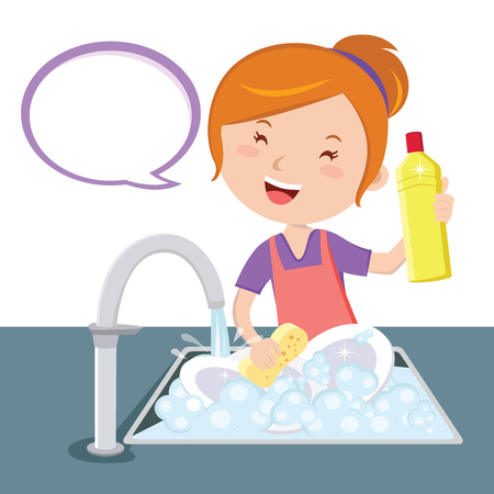 Dish-washing vector illustration of mother holding the dish-washing liquid.