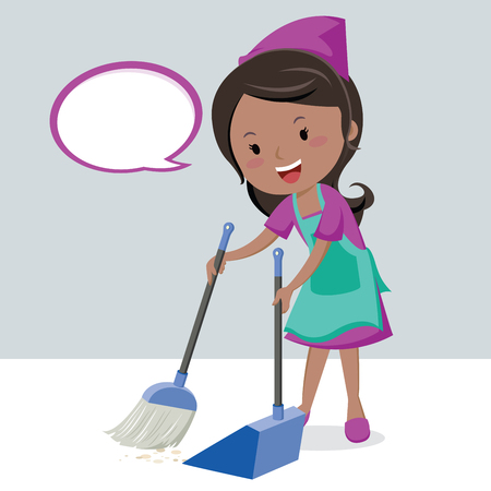 Girl sweeping floor with broom. Çizim
