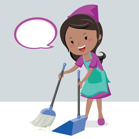 Girl sweeping floor with broom. Vettoriali