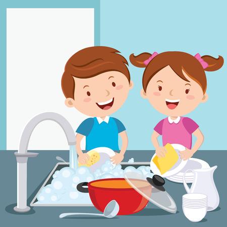 Mycie naczyń dla dzieci. Rodzeństwo wspólnie zmywa naczynia. Ilustracje wektorowe