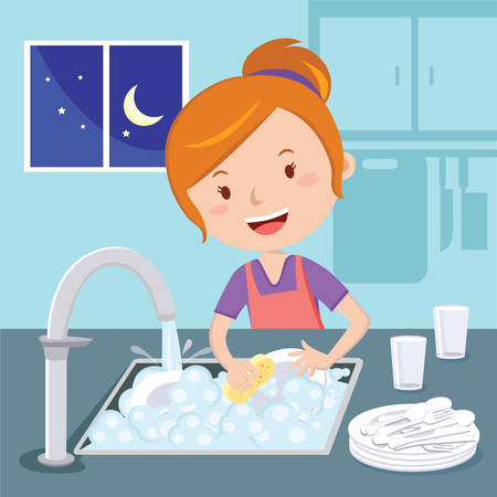Mother washing dishes. Vector of a woman washing dishes at night. Illustration