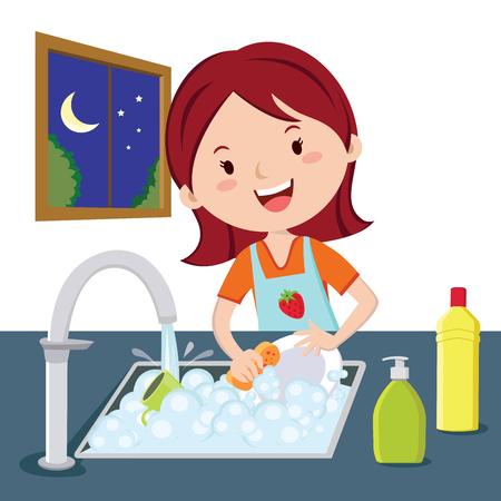女性が皿洗いをする。夜に皿洗いをする女性のベクトル。