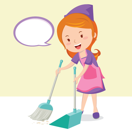 Young girl sweeping floor with broom Vector illustration.