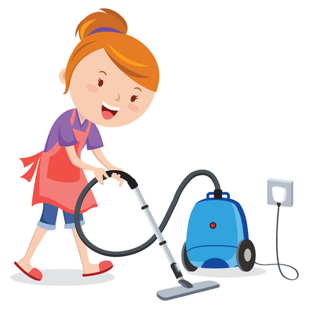 Young woman vacuuming floor Vector illustration. Illustration