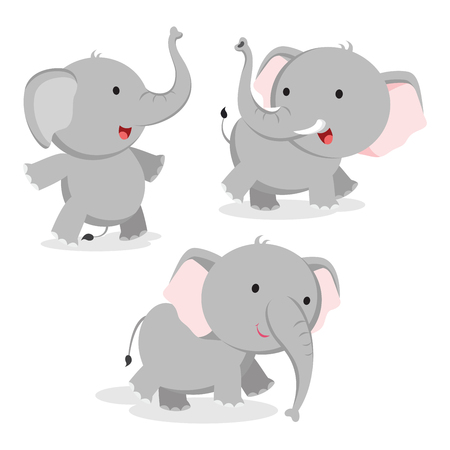 Cute elephant in different pose. Vector illustration.