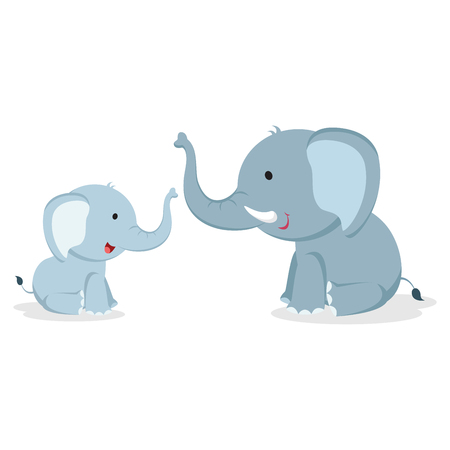Elephant with cub. Vector illustration. Illustration