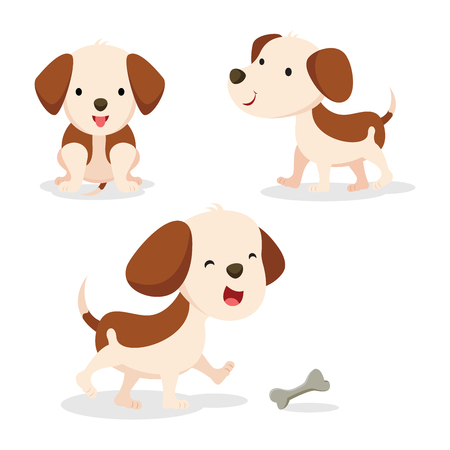 Set of dog in different pose. Vector illustration. Illustration