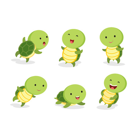 Cute turtles. Vector illustration of turtle in different pose. Illustration