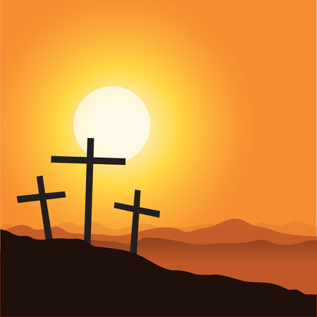 Three cross and mountain silhouette. Vector illustration of Good Friday Easter Day Crosses.