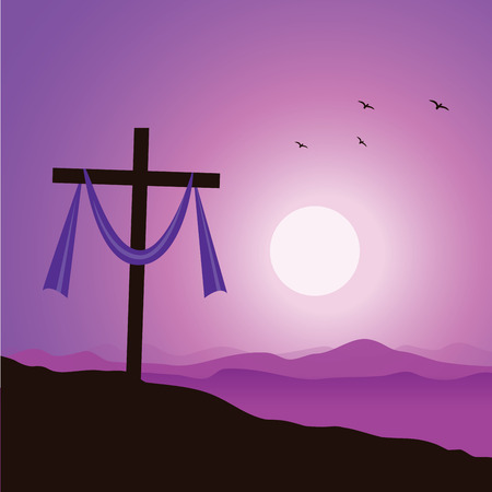 Lenten cross. Crucifixion of Jesus Christ. 向量圖像
