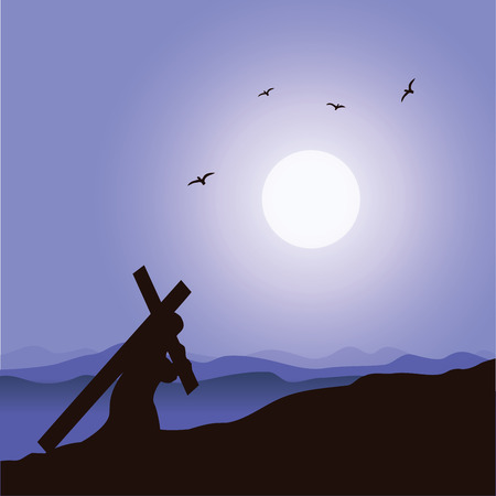 Jesus carrying His cross. The road to Calvary. Crucifixion.
