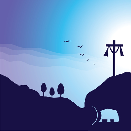 Cross and empty tomb. Vector illustration of Jesus resurrection cross and empty tomb.  イラスト・ベクター素材