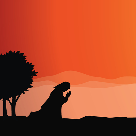 Jesus praying. Vector illustration of praying in Gethsemane. 일러스트