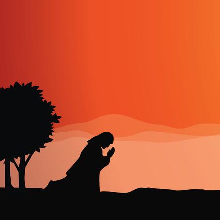 Jesus praying. Vector illustration of praying in Gethsemane. Illustration