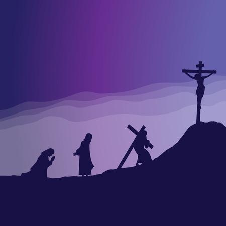 Jezus modli się i podróż do Kalwarii ilustracji wektorowych.