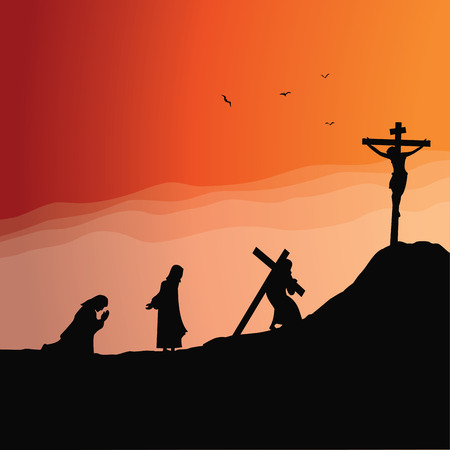 Jesus praying and journey to Calvary concept vector illustration Stock Illustratie
