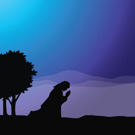 Jesus praying. Vector illustration of praying in Gethsemane. Иллюстрация