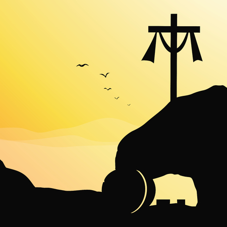 Cross and empty tomb. Vector illustration of Jesus resurrection cross and empty tomb. Illustration