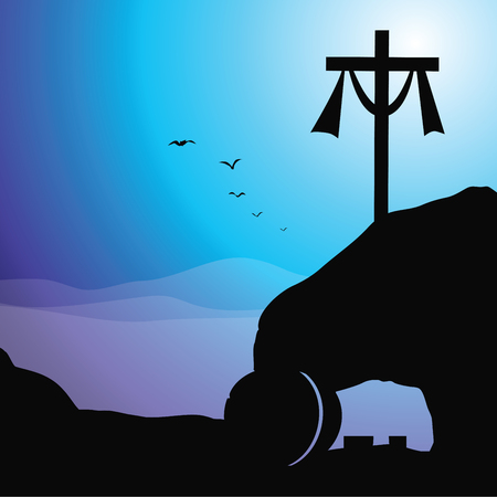 Cross and empty tomb. Vector illustration of Jesus resurrection cross and empty tomb. Stock Illustratie