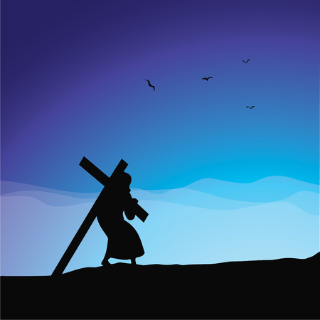Jesus carrying His cross concept vector illustration