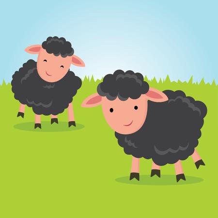 Baa Baa Black Sheep. Little lambs smiling.