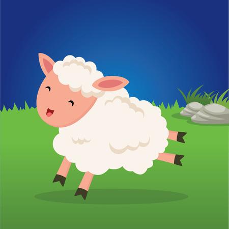 Baby sheep running. Cute little lamb running happily.