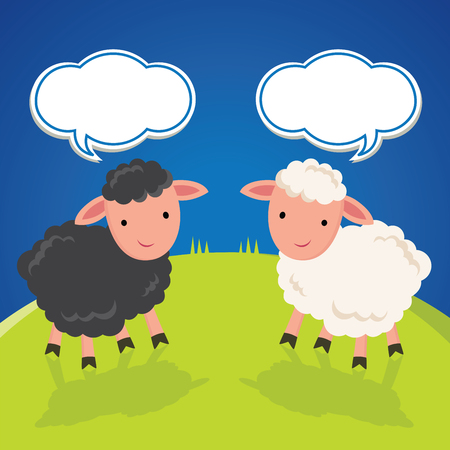 Black and white sheep. Sheep with speech bubbles.